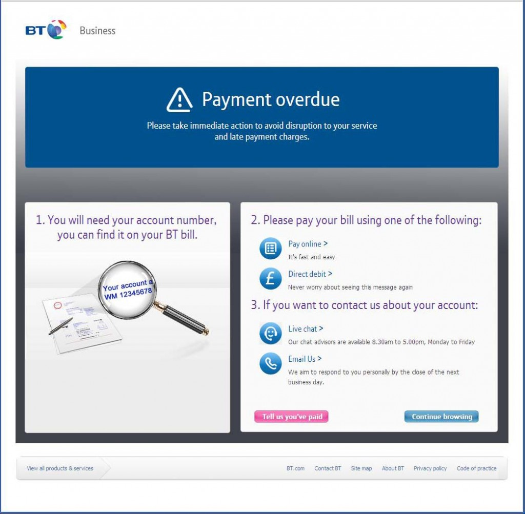 "BT request prompt payment for their business broadband ""service"""