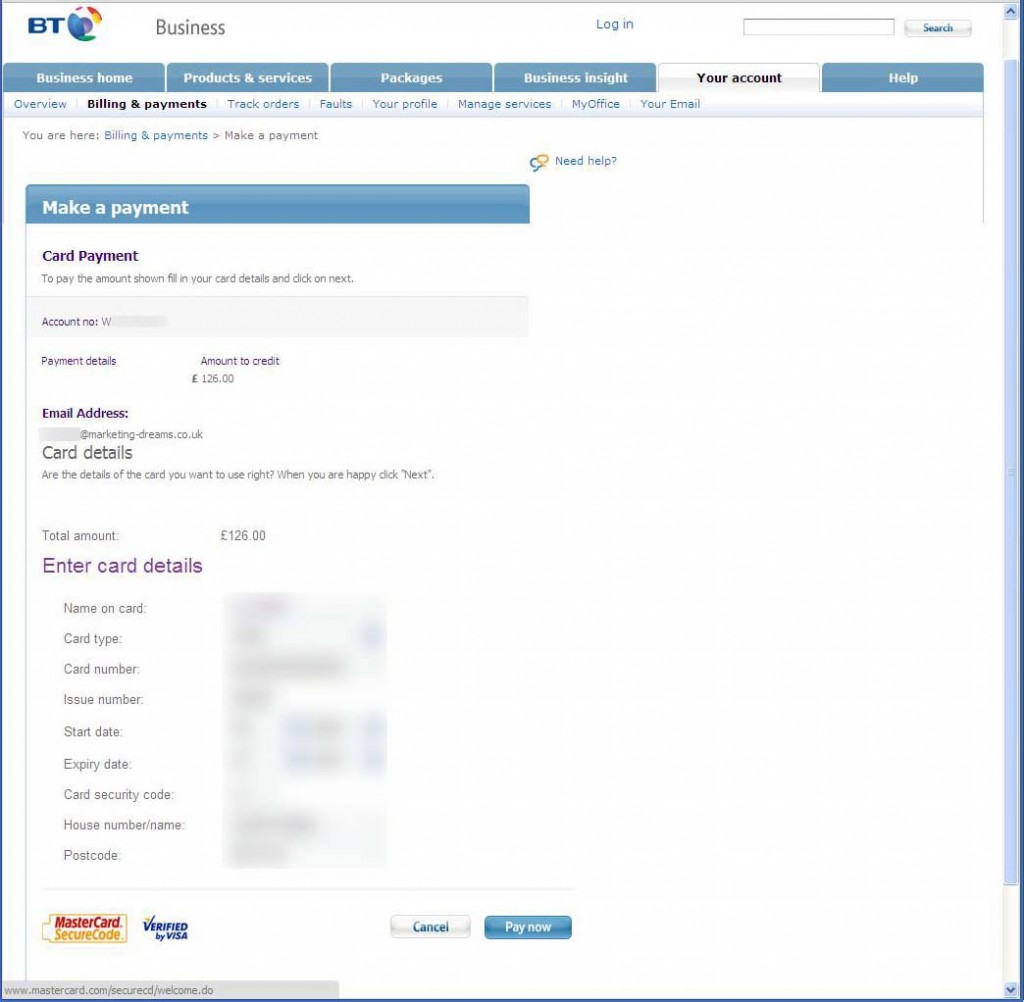 BT request my credit card details once more.