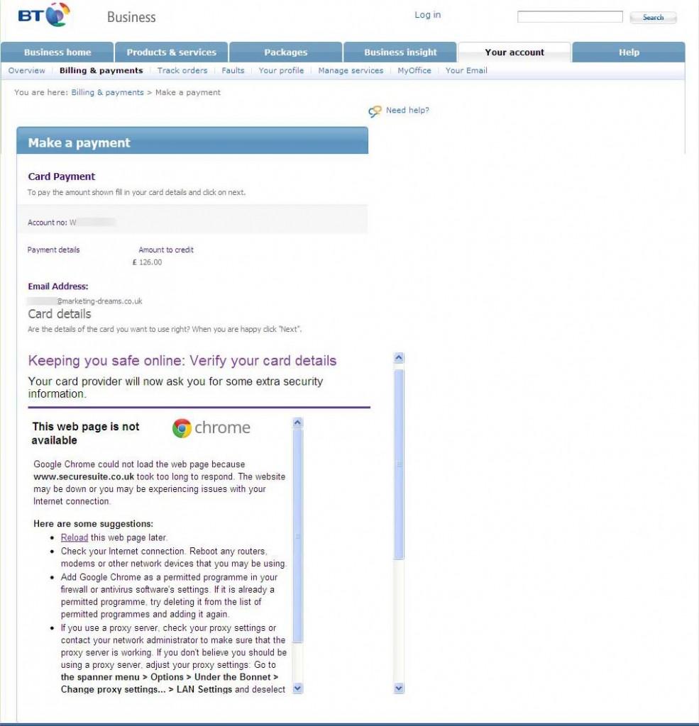 """BT helpfully block """"Verified by VISA"""""""